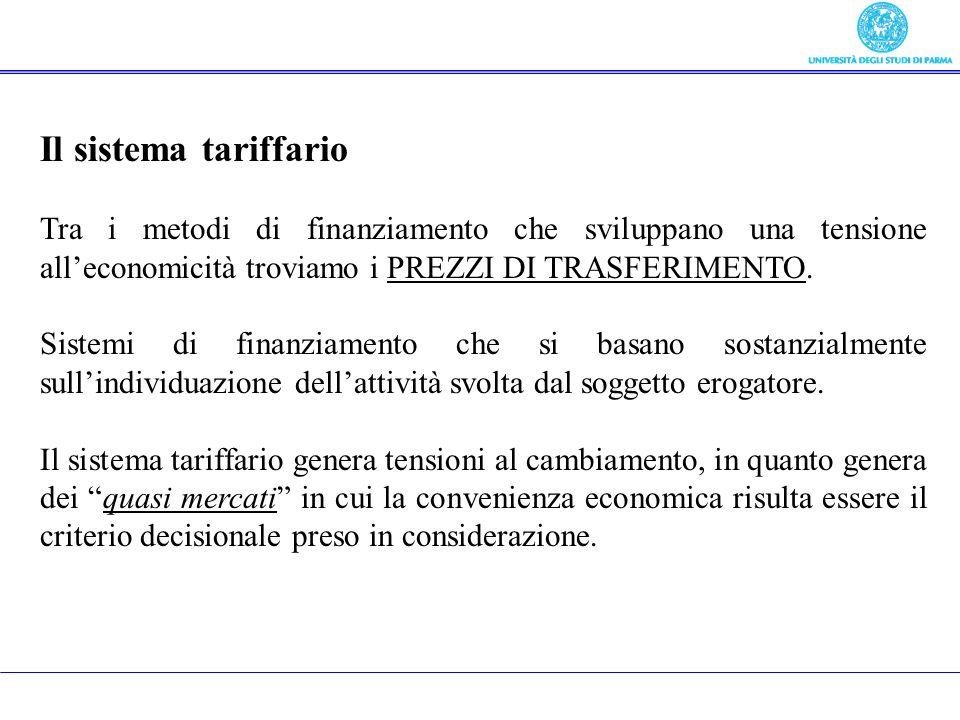 3) Tariffe, prezzi, entrate derivate da Il sistema tariffario Tra i metodi di finanziamento che sviluppano una tensione alleconomicità troviamo i PREZ