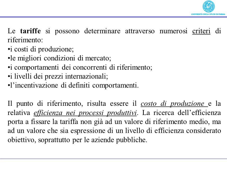 3) Tariffe, prezzi, entrate derivate da Le tariffe si possono determinare attraverso numerosi criteri di riferimento: i costi di produzione; le miglio