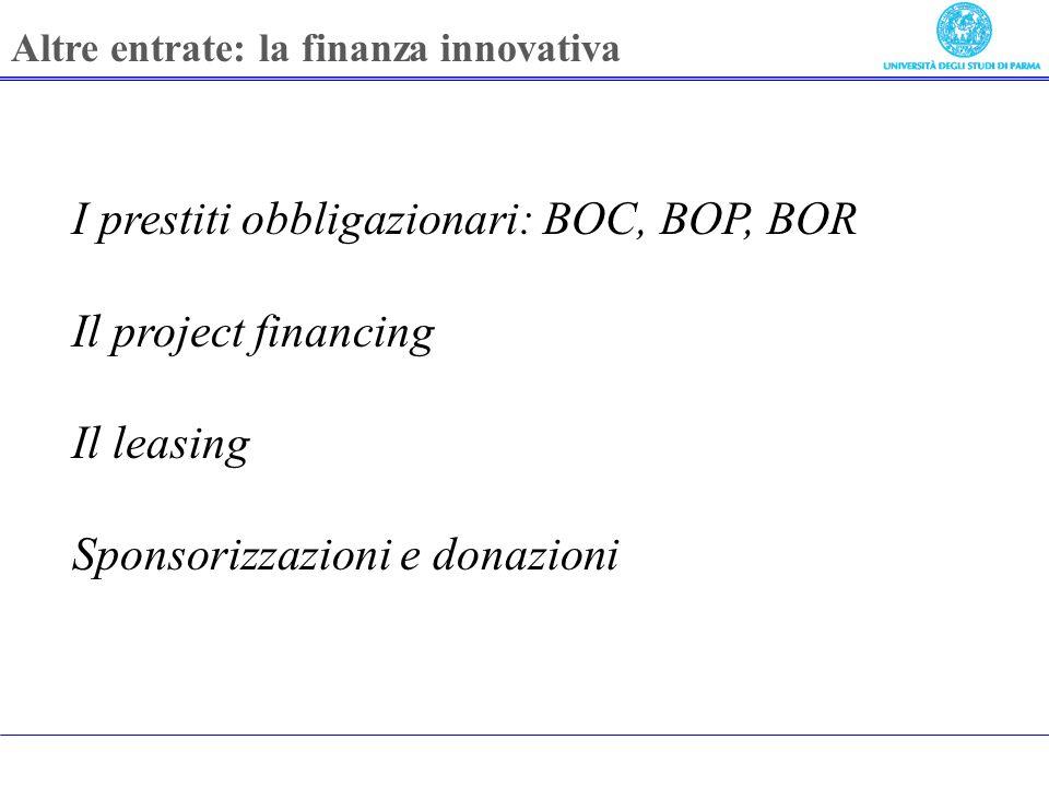 I prestiti obbligazionari: BOC, BOP, BOR Il project financing Il leasing Sponsorizzazioni e donazioni Altre entrate: la finanza innovativa