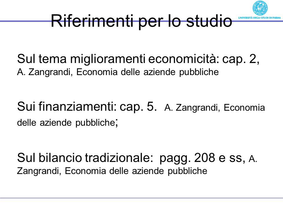 Riferimenti per lo studio Sul tema miglioramenti economicità: cap. 2, A. Zangrandi, Economia delle aziende pubbliche Sui finanziamenti: cap. 5. A. Zan