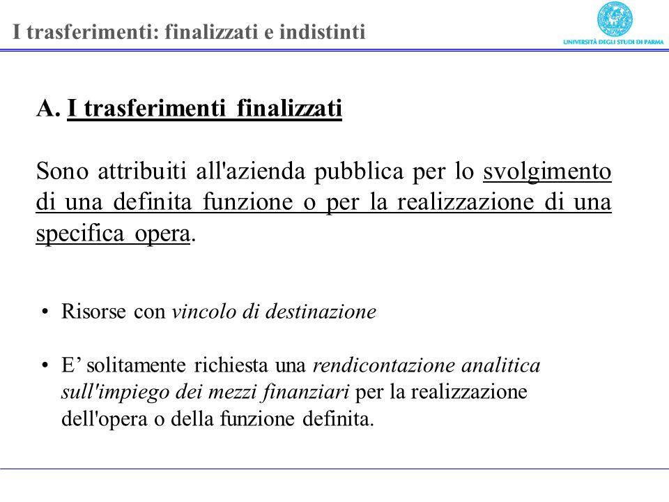 A. I trasferimenti finalizzati Sono attribuiti all'azienda pubblica per lo svolgimento di una definita funzione o per la realizzazione di una specific
