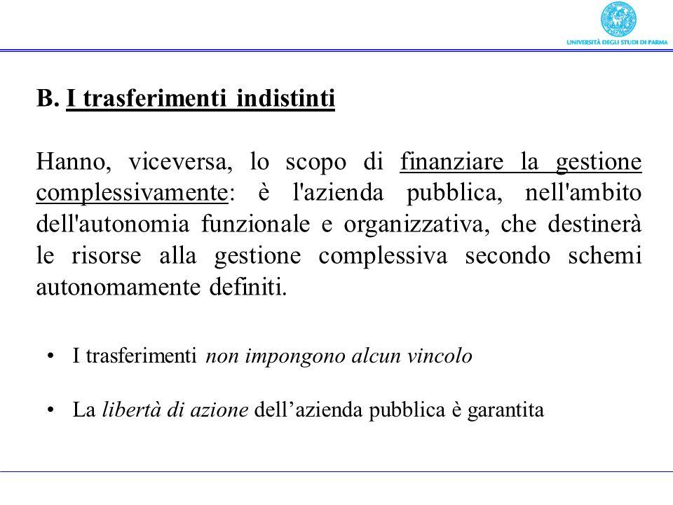 B. I trasferimenti indistinti Hanno, viceversa, lo scopo di finanziare la gestione complessivamente: è l'azienda pubblica, nell'ambito dell'autonomia