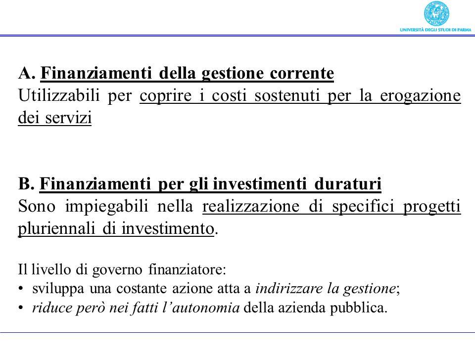 A. Finanziamenti della gestione corrente Utilizzabili per coprire i costi sostenuti per la erogazione dei servizi B. Finanziamenti per gli investiment