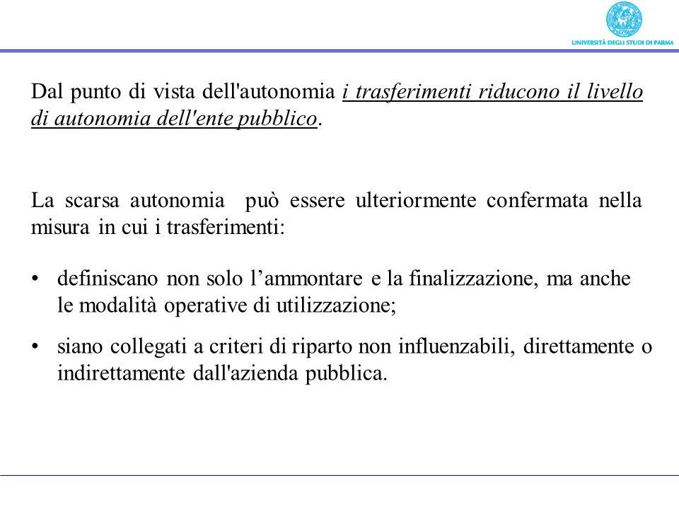 Dal punto di vista dell'autonomia i trasferimenti riducono il livello di autonomia dell'ente pubblico. La scarsa autonomia può essere ulteriormente co