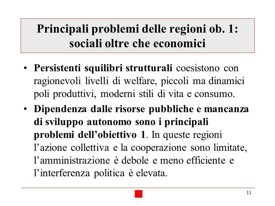 11 Principali problemi delle regioni ob. 1: sociali oltre che economici Persistenti squilibri strutturali coesistono con ragionevoli livelli di welfar