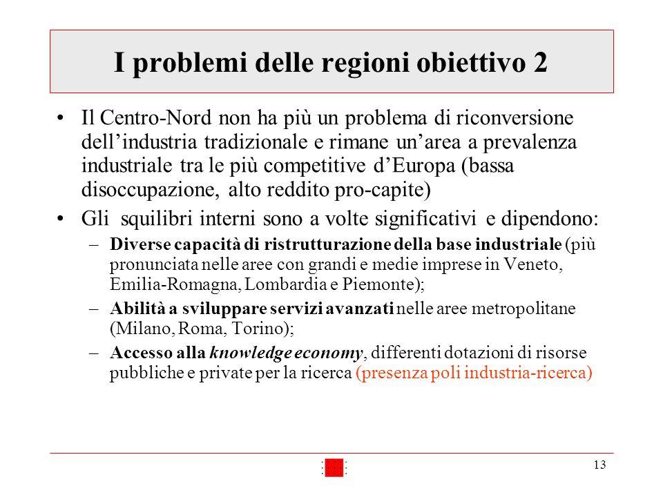 13 I problemi delle regioni obiettivo 2 Il Centro-Nord non ha più un problema di riconversione dellindustria tradizionale e rimane unarea a prevalenza