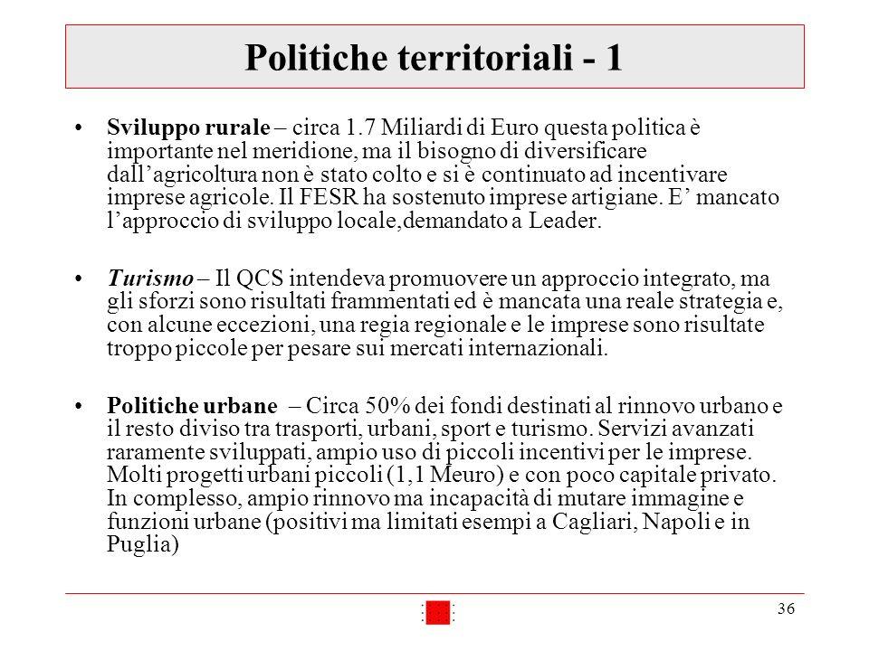 36 Politiche territoriali - 1 Sviluppo rurale – circa 1.7 Miliardi di Euro questa politica è importante nel meridione, ma il bisogno di diversificare