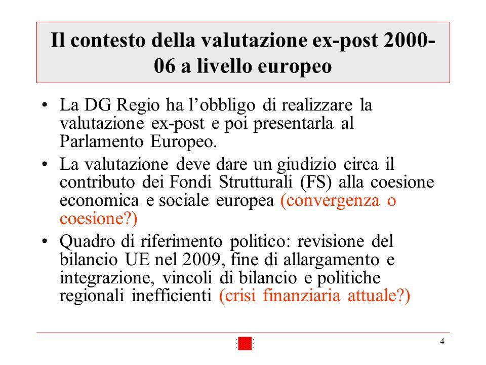 4 Il contesto della valutazione ex-post 2000- 06 a livello europeo La DG Regio ha lobbligo di realizzare la valutazione ex-post e poi presentarla al Parlamento Europeo.