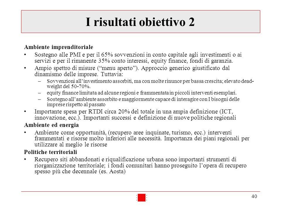 40 I risultati obiettivo 2 Ambiente imprenditoriale Sostegno alle PMI e per il 65% sovvenzioni in conto capitale agli investimenti o ai servizi e per