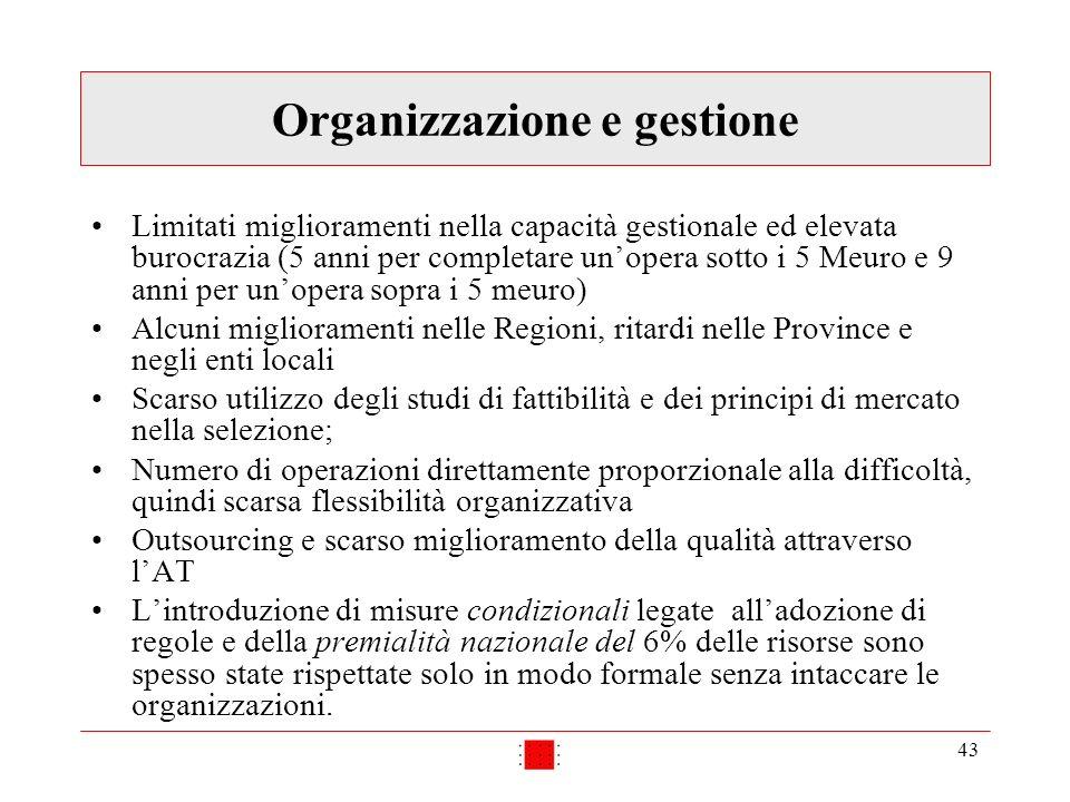 43 Organizzazione e gestione Limitati miglioramenti nella capacità gestionale ed elevata burocrazia (5 anni per completare unopera sotto i 5 Meuro e 9