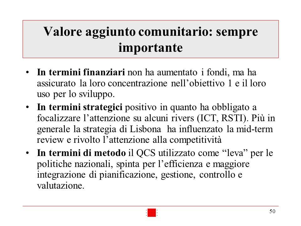 50 Valore aggiunto comunitario: sempre importante In termini finanziari non ha aumentato i fondi, ma ha assicurato la loro concentrazione nellobiettivo 1 e il loro uso per lo sviluppo.