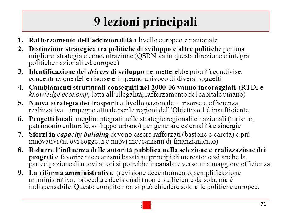 51 9 lezioni principali 1.Rafforzamento delladdizionalità a livello europeo e nazionale 2.Distinzione strategica tra politiche di sviluppo e altre pol