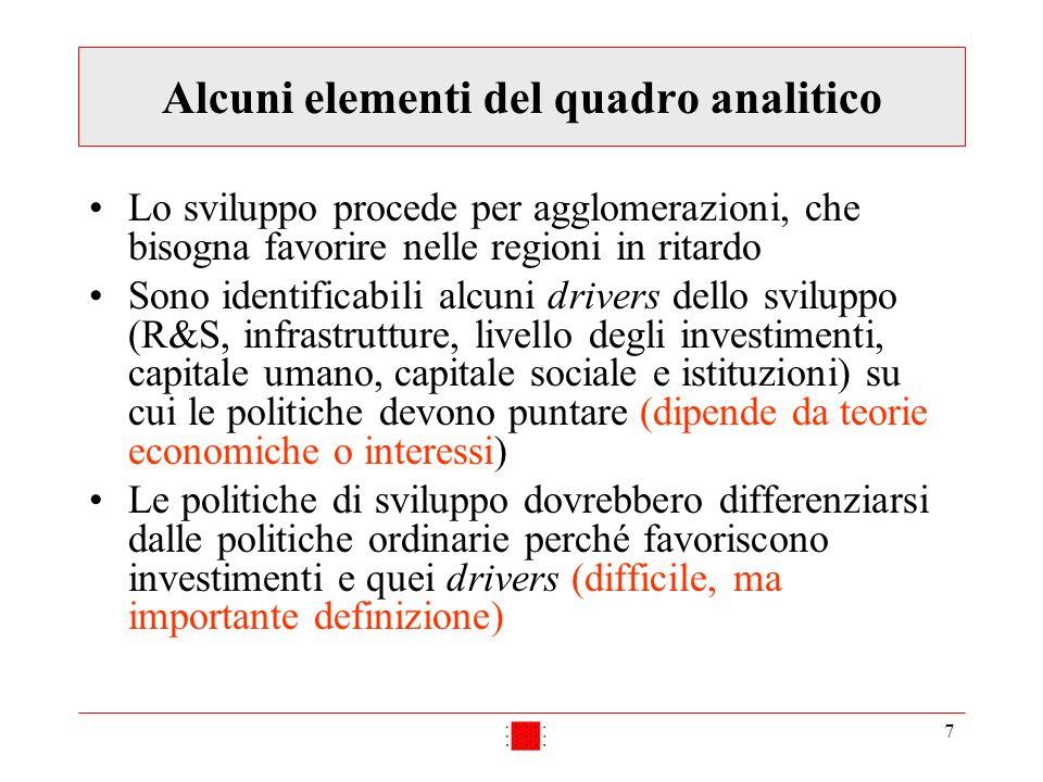 7 Alcuni elementi del quadro analitico Lo sviluppo procede per agglomerazioni, che bisogna favorire nelle regioni in ritardo Sono identificabili alcun
