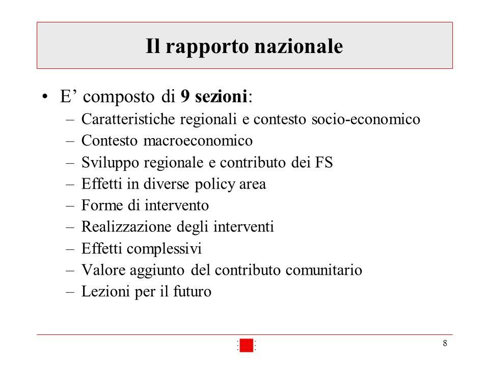 8 Il rapporto nazionale E composto di 9 sezioni: –Caratteristiche regionali e contesto socio-economico –Contesto macroeconomico –Sviluppo regionale e