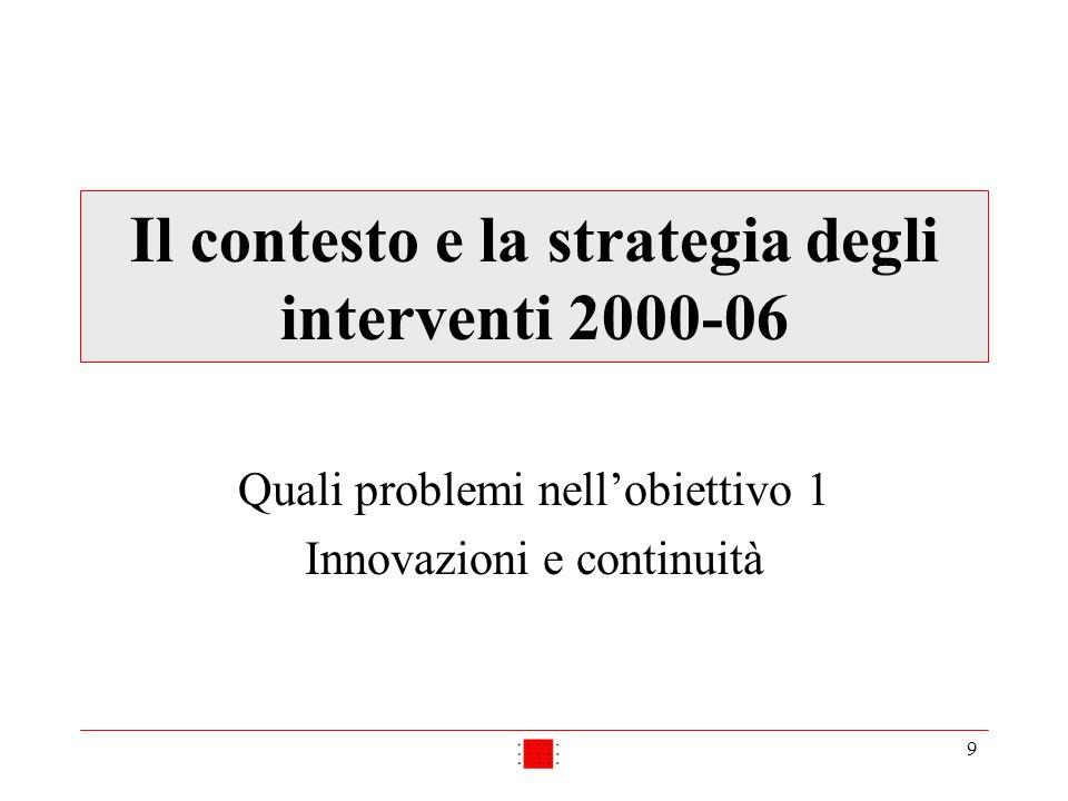 9 Il contesto e la strategia degli interventi 2000-06 Quali problemi nellobiettivo 1 Innovazioni e continuità