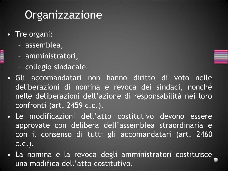 Organizzazione Tre organi: –assemblea, –amministratori, –collegio sindacale. Gli accomandatari non hanno diritto di voto nelle deliberazioni di nomina