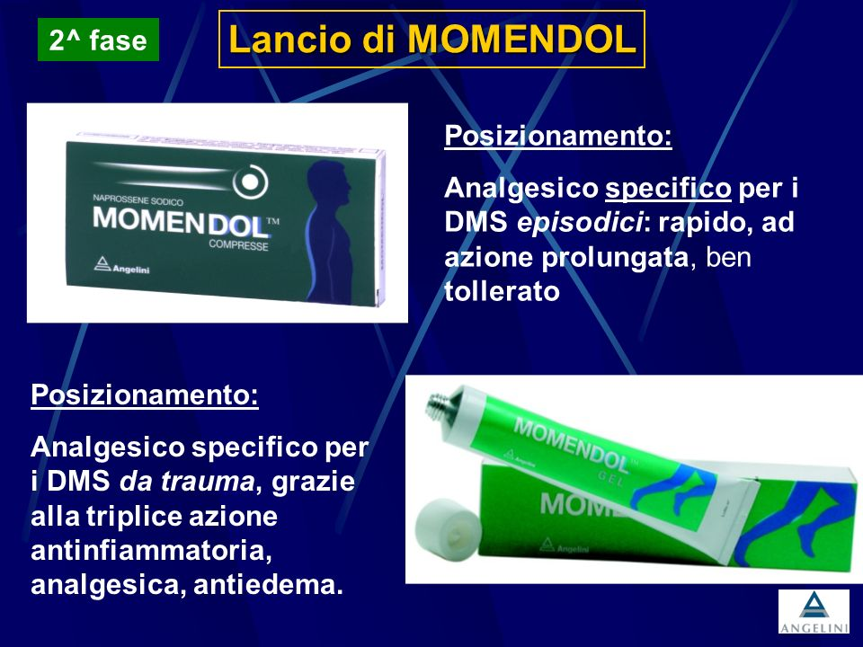 Lancio di MOMENDOL Posizionamento: Analgesico specifico per i DMS episodici: rapido, ad azione prolungata, ben tollerato Posizionamento: Analgesico sp