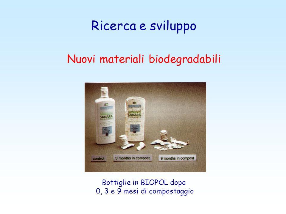 Ricerca e sviluppo Nuovi materiali biodegradabili Bottiglie in BIOPOL dopo 0, 3 e 9 mesi di compostaggio