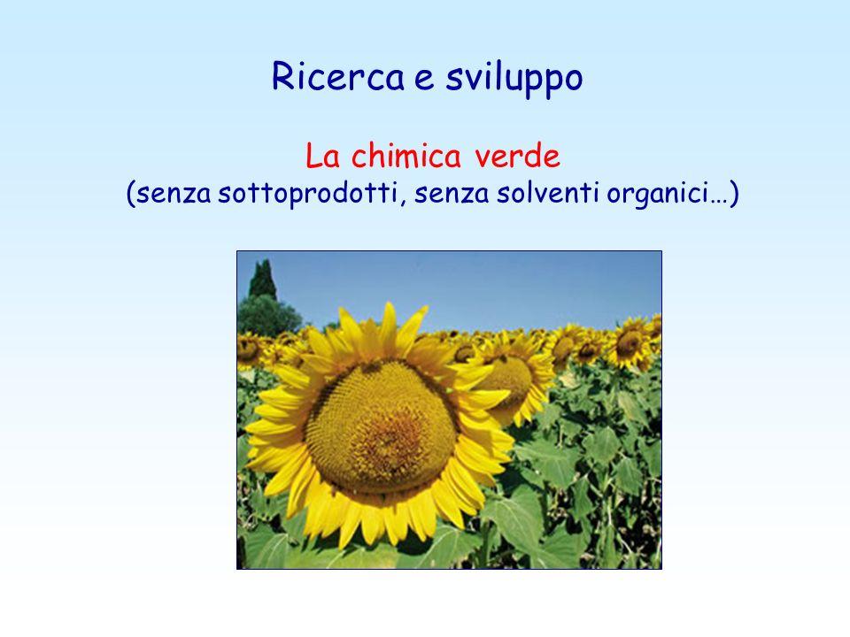 Ricerca e sviluppo La chimica verde (senza sottoprodotti, senza solventi organici…)