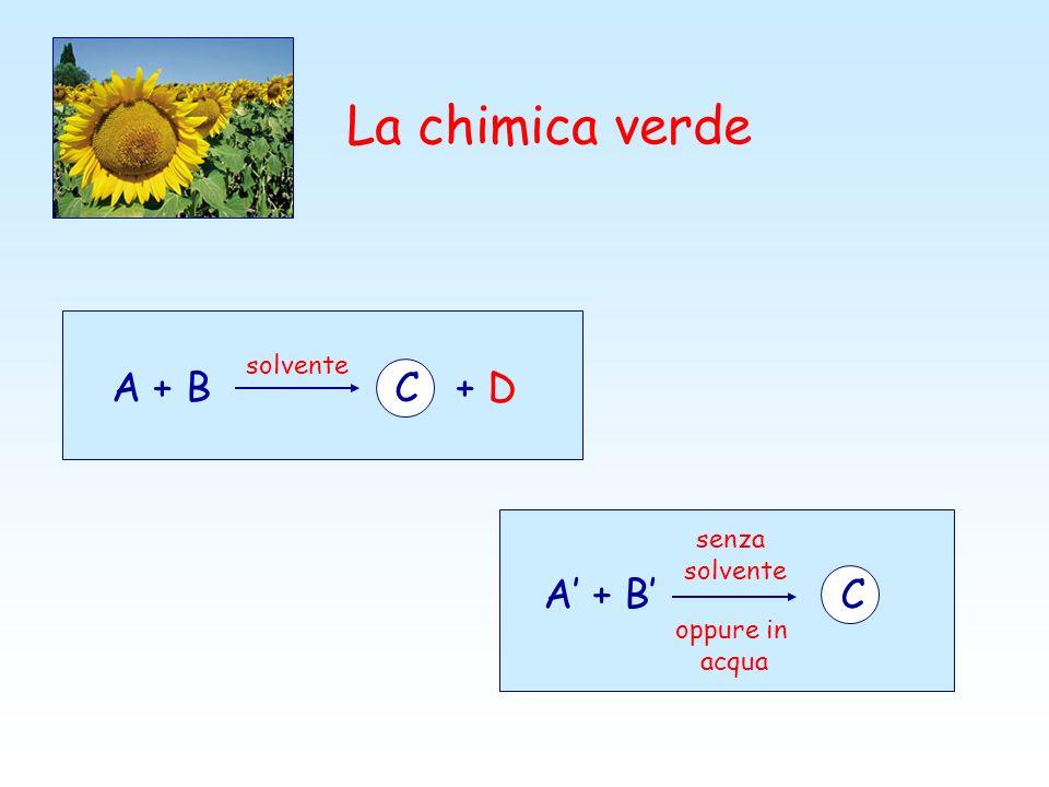 La chimica verde A + B C + D solvente A + B C senza solvente oppure in acqua