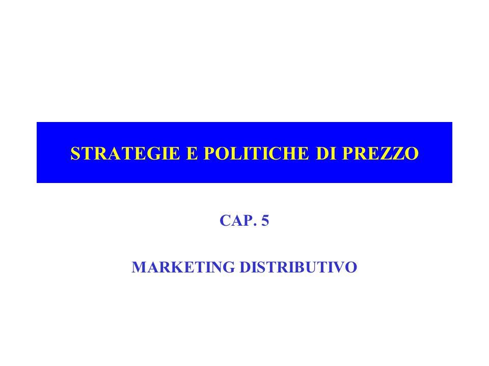 STRATEGIE E POLITICHE DI PREZZO CAP. 5 MARKETING DISTRIBUTIVO