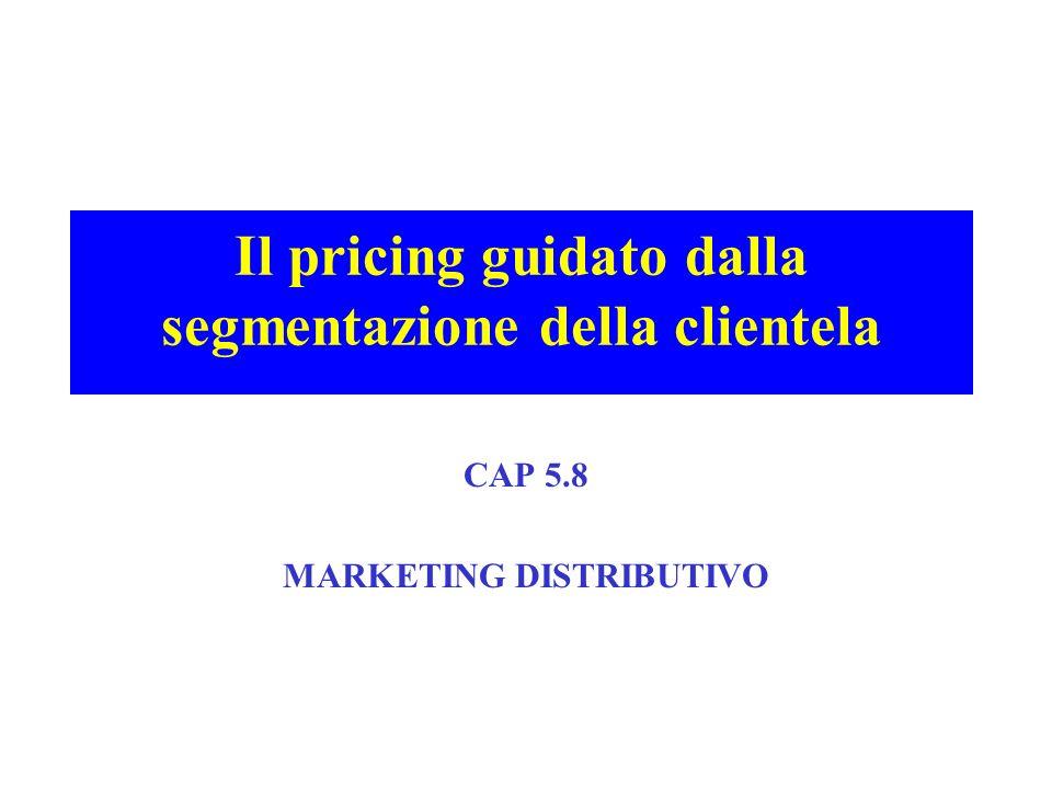Il pricing guidato dalla segmentazione della clientela CAP 5.8 MARKETING DISTRIBUTIVO
