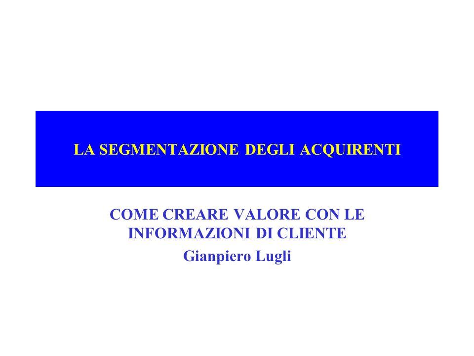 LA SEGMENTAZIONE DEGLI ACQUIRENTI COME CREARE VALORE CON LE INFORMAZIONI DI CLIENTE Gianpiero Lugli