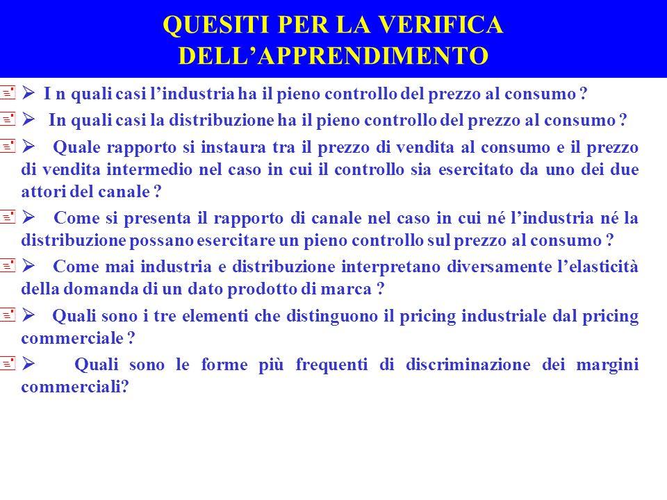Regole empiriche di formazione e variazione dei prezzi al consumo +I LIVELLI DEL PRICING COMMERCIALE (F 51)(F 51) +IL RUOLO DEI COSTI, DELLA DOMANDA E DELLA CONCORRENZA AI DIVERSI LIVELLI DEL PRICING COMMERCIALE +DEFINIZIONE DEL MARGINE PERCENTUALE E DEL MARGINE COMPLESSIVO NEL BUDGET : *PREVISIONE DELLA STRUTTURA DELLE VENDITE *VENTILAZIONE DEL MARGINE OBIETTIVO DI FORMATO/PUNTO VENDITA/MERCATO IN BASE ALLA ELASTICITA DELLA DOMANDA ( inverso del tasso di rotazione ) *CONTROLLO BUDGETARIO PER AGGIUSTARE I MARGINI PERCENTUALI - OBIETTIVI DI ROI +Le difficolta di previsione della domanda vengono superare utilizzando dati storici e rivedendo frequentemente le decisioni assunte attraverso il controllo budgetario +Lampia dispersione dei margini percentuali sulle vendite tra categorie e allinterno di una stessa categoria conferma il ruolo dominante della domanda nel pricing commerciale