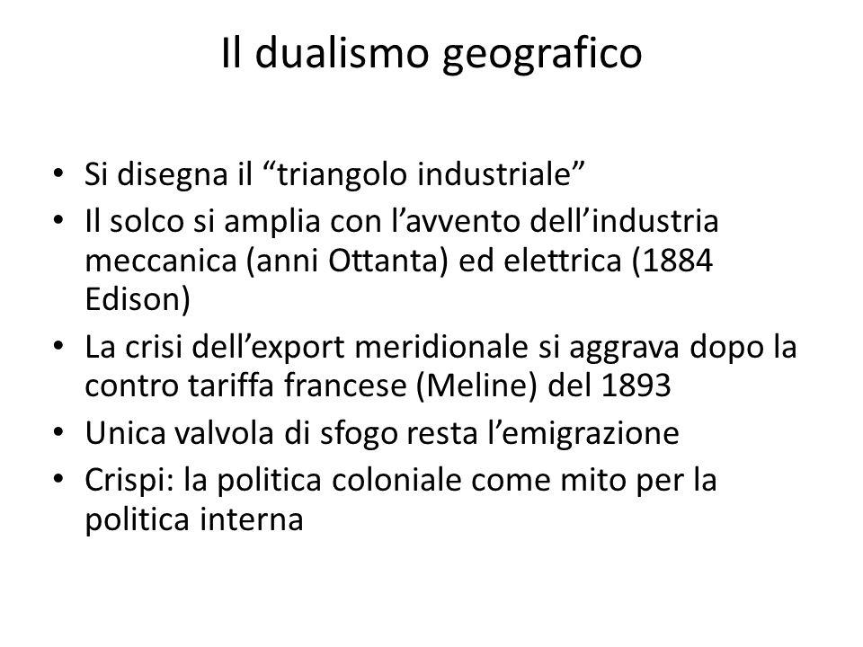 Il dualismo geografico Si disegna il triangolo industriale Il solco si amplia con lavvento dellindustria meccanica (anni Ottanta) ed elettrica (1884 E