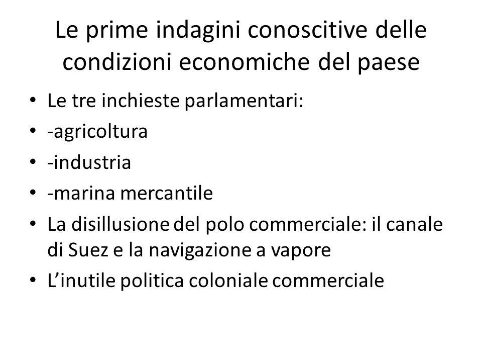 Le prime indagini conoscitive delle condizioni economiche del paese Le tre inchieste parlamentari: -agricoltura -industria -marina mercantile La disil