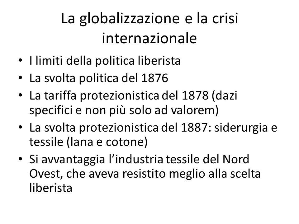 La globalizzazione e la crisi internazionale I limiti della politica liberista La svolta politica del 1876 La tariffa protezionistica del 1878 (dazi s