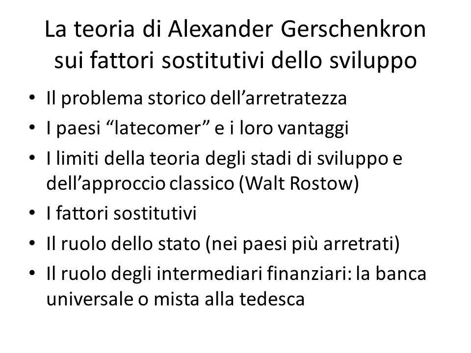 La teoria di Alexander Gerschenkron sui fattori sostitutivi dello sviluppo Il problema storico dellarretratezza I paesi latecomer e i loro vantaggi I