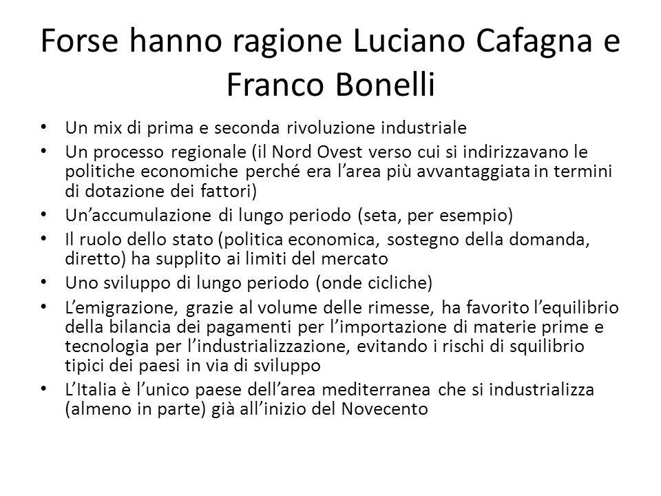 Forse hanno ragione Luciano Cafagna e Franco Bonelli Un mix di prima e seconda rivoluzione industriale Un processo regionale (il Nord Ovest verso cui
