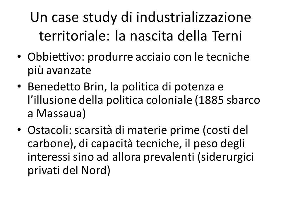 Un case study di industrializzazione territoriale: la nascita della Terni Obbiettivo: produrre acciaio con le tecniche più avanzate Benedetto Brin, la