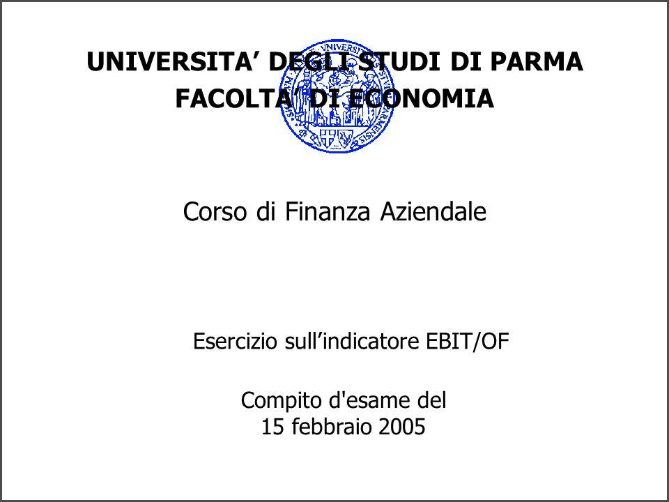 UNIVERSITA DEGLI STUDI DI PARMA FACOLTA DI ECONOMIA Corso di Finanza Aziendale Esercizio sullindicatore EBIT/OF Compito d esame del 15 febbraio 2005