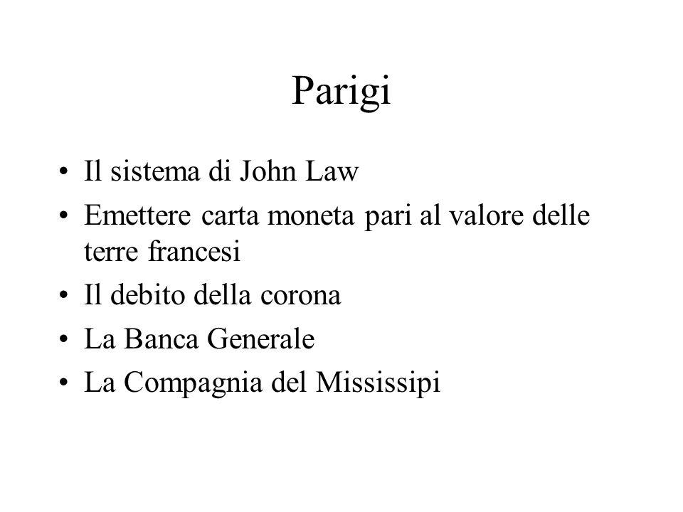 Parigi Il sistema di John Law Emettere carta moneta pari al valore delle terre francesi Il debito della corona La Banca Generale La Compagnia del Miss