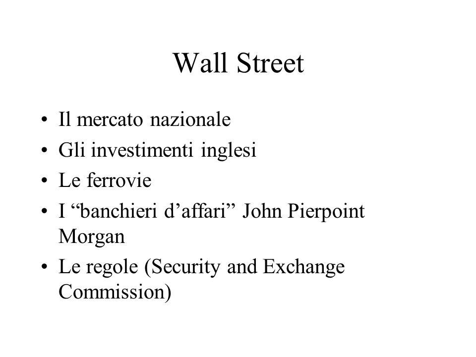 Wall Street Il mercato nazionale Gli investimenti inglesi Le ferrovie I banchieri daffari John Pierpoint Morgan Le regole (Security and Exchange Commi