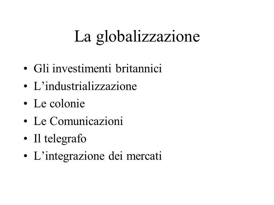 La globalizzazione Gli investimenti britannici Lindustrializzazione Le colonie Le Comunicazioni Il telegrafo Lintegrazione dei mercati