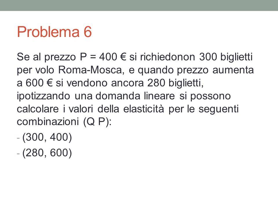 Problema 6 Se al prezzo P = 400 si richiedonon 300 biglietti per volo Roma-Mosca, e quando prezzo aumenta a 600 si vendono ancora 280 biglietti, ipotizzando una domanda lineare si possono calcolare i valori della elasticità per le seguenti combinazioni (Q P): - (300, 400) - (280, 600)
