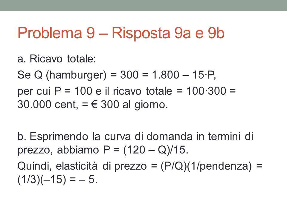 Problema 9 – Risposta 9a e 9b a.