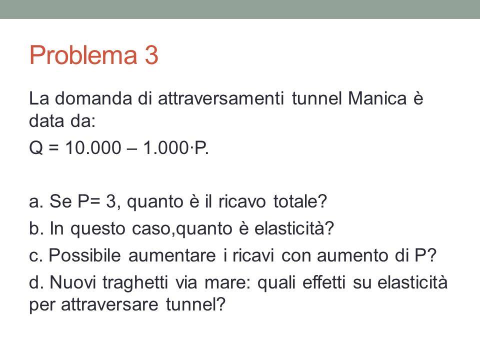 Problema 3 La domanda di attraversamenti tunnel Manica è data da: Q = 10.000 – 1.000·P.