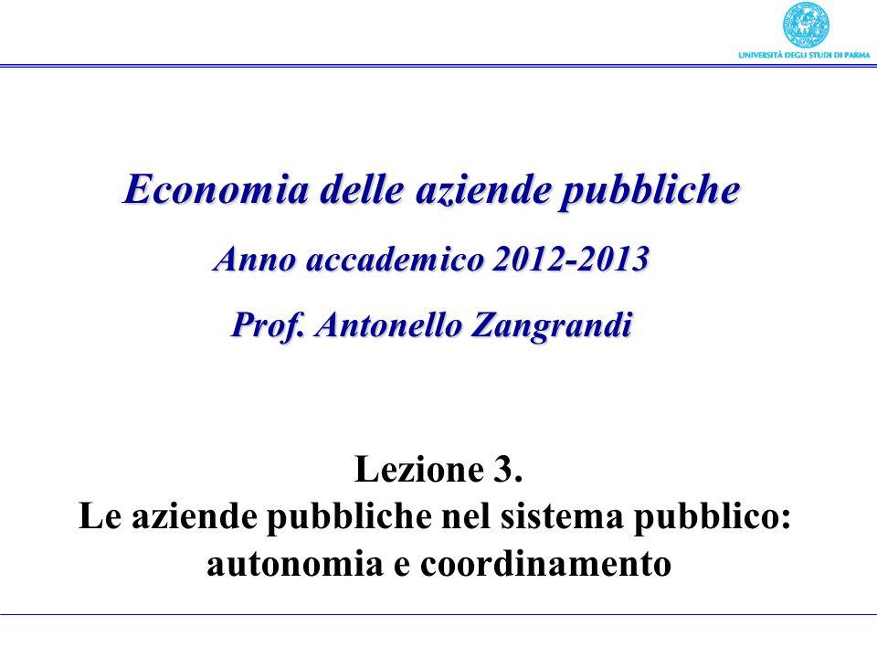 Economia delle aziende pubbliche Anno accademico 2012-2013 Prof. Antonello Zangrandi Lezione 3. Le aziende pubbliche nel sistema pubblico: autonomia e