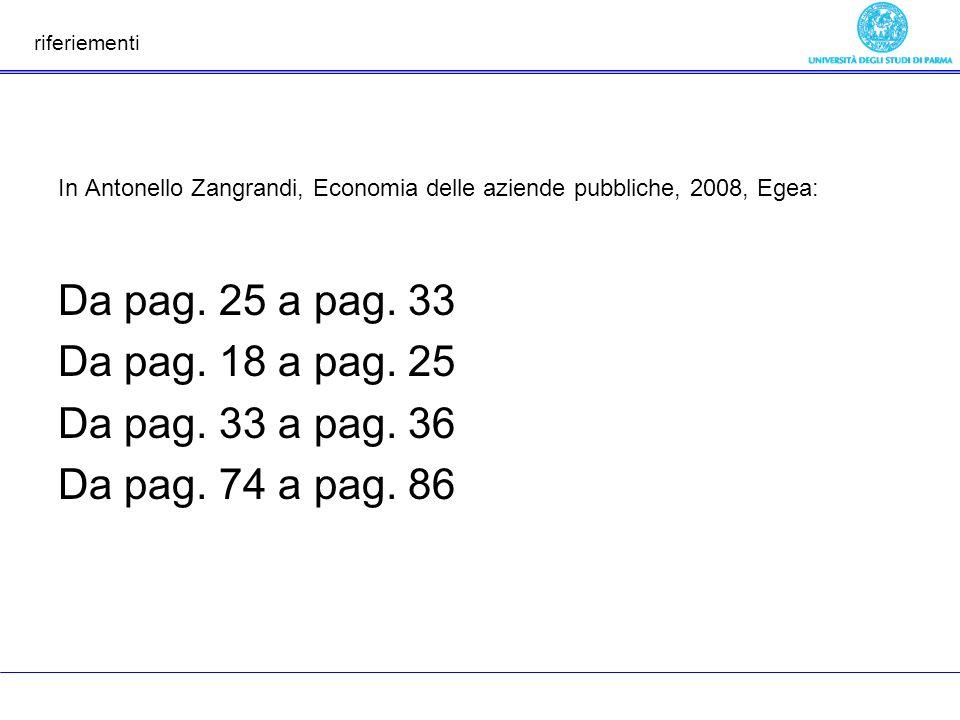riferiementi In Antonello Zangrandi, Economia delle aziende pubbliche, 2008, Egea: Da pag. 25 a pag. 33 Da pag. 18 a pag. 25 Da pag. 33 a pag. 36 Da p