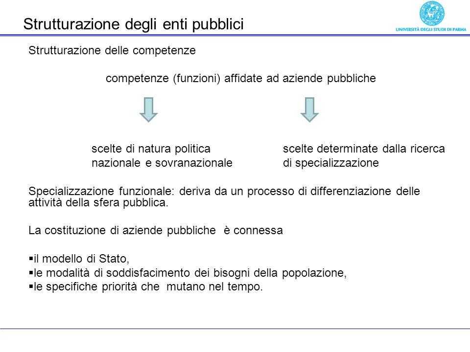 Strutturazione delle competenze competenze (funzioni) affidate ad aziende pubbliche scelte di natura politica scelte determinate dalla ricerca nazionale e sovranazionale di specializzazione Specializzazione funzionale: deriva da un processo di differenziazione delle attività della sfera pubblica.