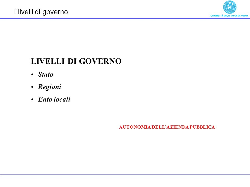I livelli di governo LIVELLI DI GOVERNO Stato Regioni Ento locali AUTONOMIA DELLAZIENDA PUBBLICA