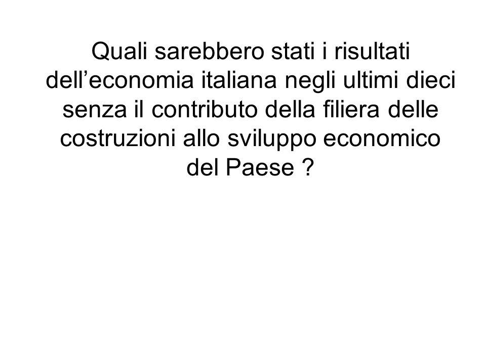 Quali sarebbero stati i risultati delleconomia italiana negli ultimi dieci senza il contributo della filiera delle costruzioni allo sviluppo economico