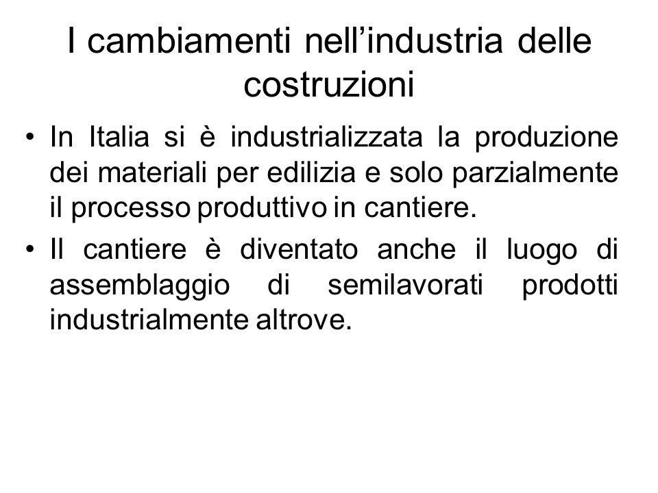 I cambiamenti nellindustria delle costruzioni In Italia si è industrializzata la produzione dei materiali per edilizia e solo parzialmente il processo