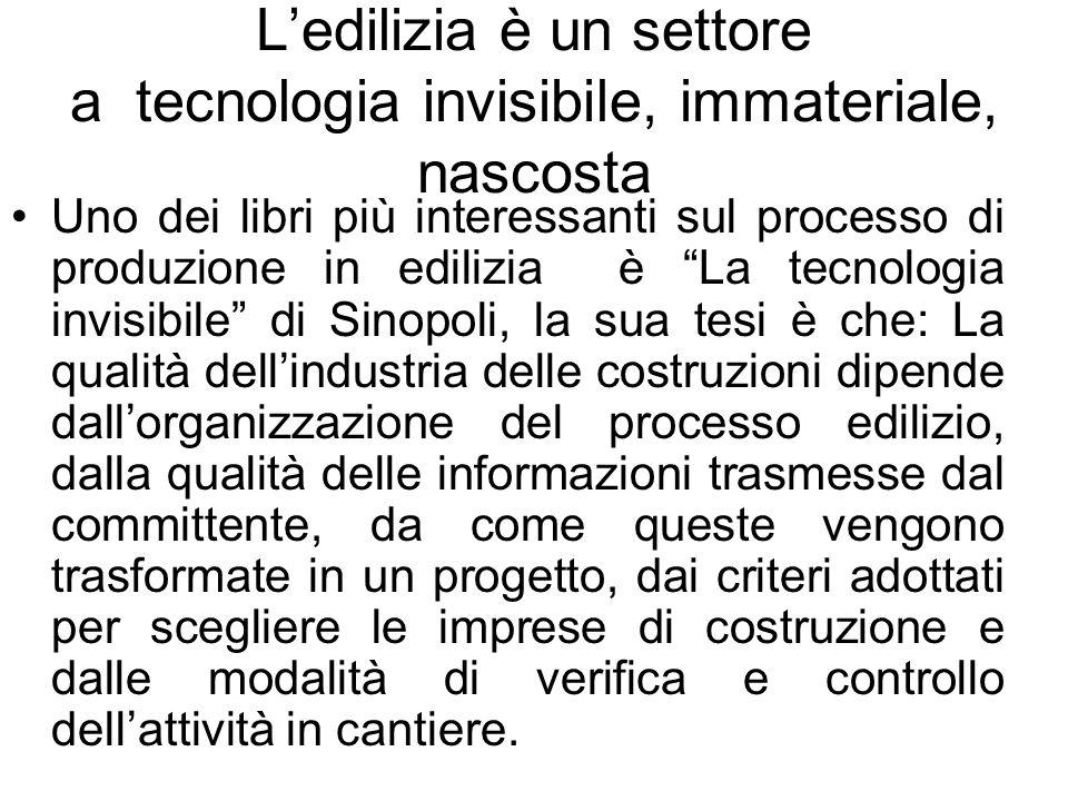 Ledilizia è un settore a tecnologia invisibile, immateriale, nascosta Uno dei libri più interessanti sul processo di produzione in edilizia è La tecno