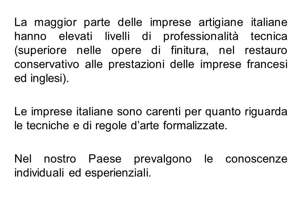 La maggior parte delle imprese artigiane italiane hanno elevati livelli di professionalità tecnica (superiore nelle opere di finitura, nel restauro co