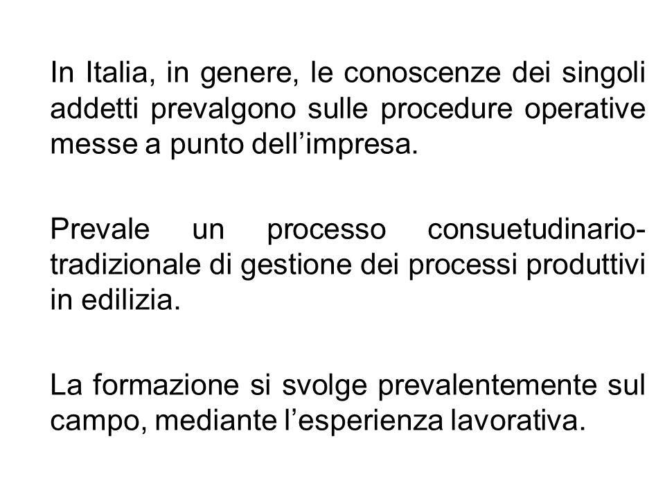 In Italia, in genere, le conoscenze dei singoli addetti prevalgono sulle procedure operative messe a punto dellimpresa. Prevale un processo consuetudi